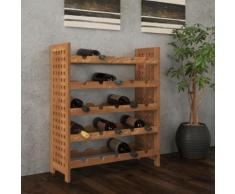 vidaXL Porta Bottiglie di Vino in Legno Massello Noce 64x25x76 cm