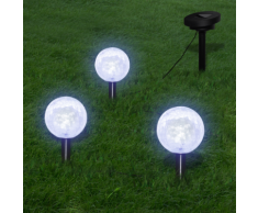 vidaXL Set 3x lampioncino solare a LED con picchetti & pannello