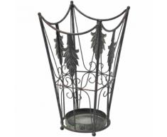 vidaXL Porta ombrelli shabby in ferro antico nero