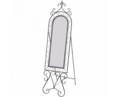 vidaXL Specchio Shabby da pavimento in ferro grigio antico