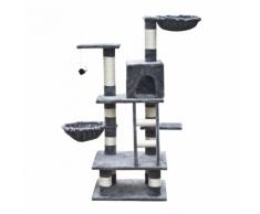 vidaXL Casina ad albero per gatto 122 cm Peluche grigio