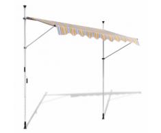 vidaXL Tenda da Sole a Scomparsa 200 cm ad Azionamento Manuale Giallo/Blu
