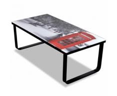 vidaXL Tavolino per Caffè Vetro con Stampa Cabina Telefonica