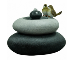 Velda Fontana da Giardino con Uccellini su Doppia Pietra M