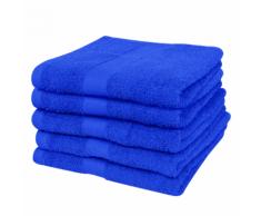 vidaXL Set 5 pz Asciugamani cotone 100% 500 gsm 50 x 100 cm blu reale