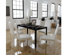 vidaXL Set Tavolo da Pranzo 7 Pezzi Nero e Bianco
