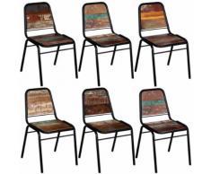 vidaXL 6 Pz Sedie Sala da Pranzo Legno Massello Riciclato 44x59x89 cm