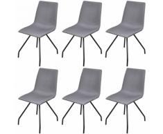 vidaXL Set 6 sedie da pranzo in tessuto grigio chiaro con gambe ferro