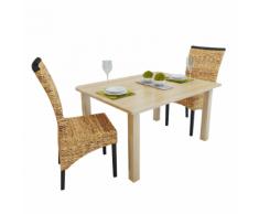 vidaXL Set 2 Sedie Sala da Pranzo in Abaca Design Rattan Intrecciato Marroni