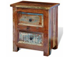 vidaXL Comodino in legno anticato massello con 2 cassetti