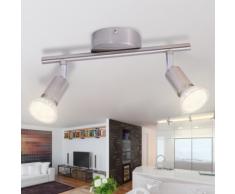 vidaXL Lampada da Soffitto con 2 Faretti a LED in Nichel Satinato
