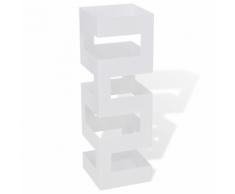 vidaXL Portaombrelli e bastoni da passeggio acciaio quadrato bianco 48,5 cm