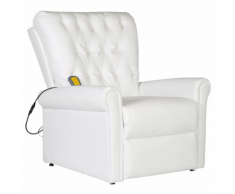 vidaXL Poltrona di massaggio elettrica reclinabile in ecopelle bianca
