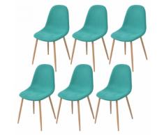 vidaXL 6 Pz Sedie per Sala da Pranzo in Stoffa Verde
