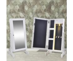 vidaXL Armadietto Bianco per Gioielli con Luce LED e Anta Specchio