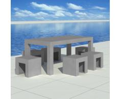 vidaXL Set Mobili Cemento 1 Tavolo + 6 Sgabelli