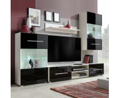 vidaXL Set 4 mobili con vetrina nero brillante unità TV e luci a LED