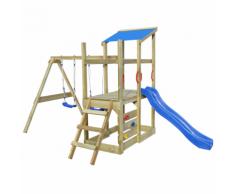 vidaXL Casetta in legno con scala, scivolo, altalene 400x226x235 cm