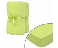 vidaXL Set 2 lenzuola con gli angoli verde per materasso 180x200-200x220cm