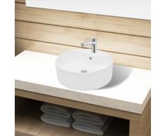 vidaXL Lavandino bagno in Ceramica bianca rotondo con Foro di trabocco
