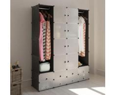vidaXL Scaffale armadietto con 18 scomparti nero e bianco 37 x 146 180,5 cm