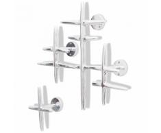 vidaXL Set 2 Attaccapanni Appendiabiti in alluminio colore argento