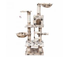 vidaXL Casina ad albero per gatto 122 cm Peluche beige con impronte