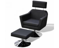 vidaXL Poltrona reclinabile di pelle artificiale con poggiapiedi Nera