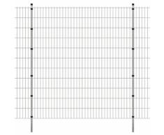 vidaXL Pannello di recinzione 2D giardino con paletti 2008x2230 mm 20m argento