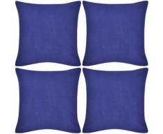 vidaXL Set 4 Federe in cotone blu 80 x cm