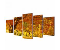 vidaXL 5 pz Set Stampa su Tela da Muro Acero 200 x 100 cm