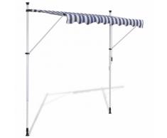 vidaXL Tenda da Sole a Scomparsa 250 cm ad Azionamento Manuale Blu/Bianco