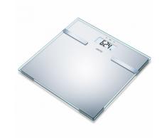 Sanitas Bilancia pesapersone con analisi corporea in vetro 180 kg argento SBF 14
