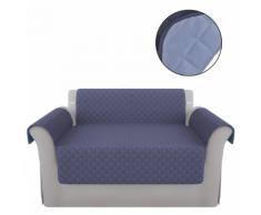 vidaXL Fodera protezione divano copridivano blu/azzurro in microfibra