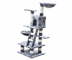 vidaXL Casina ad albero per gatto 122 cm Peluche grigio con impronte