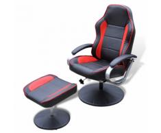 vidaXL Poltrona reclinabile di pelle artificiale con poggiapiedi nero e rosso