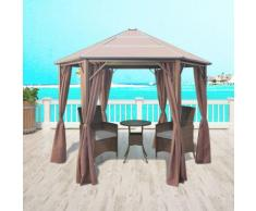 vidaXL Gazebo con Tende in Alluminio Marrone 310x270x265 cm