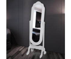 vidaXL Specchio autoportante a figura intera bianco regolabile