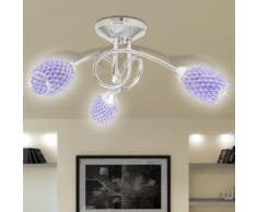 vidaXL Lampada da soffitto lampadario viola in acrilico per 3 lampadine G9