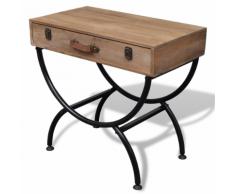 vidaXL Tavolino laterale shabby in legno anticato massello con cassetto