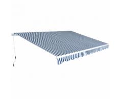 vidaXL Tenda da Sole Pieghevole Manualmente 4,5x3 m Blu e Bianca