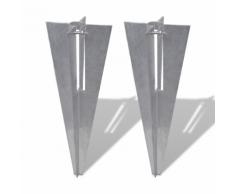vidaXL Spuntone per palo/ supporto palo retto 2 Pz