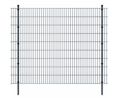 vidaXL Pannello di recinzione 2D giardino con paletti 2008x1830 mm 8m grigio