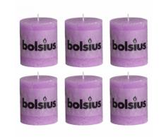 Bolsius Candela Pilastro Rustico 80 x 68 mm Viola 6 pezzi