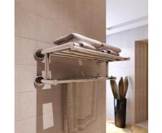 vidaXL Porta asciugamani in acciaio inox 6 barre