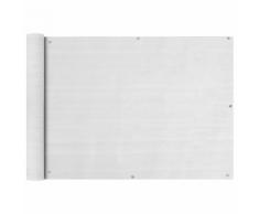 vidaXL Paravento da Balcone HDPE 75x400 cm Bianco