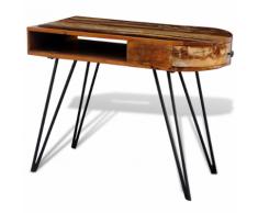 vidaXL Scrivania in legno anticato massello con gambe di ferro perni