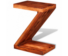 vidaXL Tavolino Laterale in Legno Massello di Sheesham a Forma Z