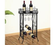 vidaXL Tavolo da vino con supporto per 9 bottiglie