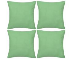 vidaXL Set 4 Federe in cotone verde mela 40 x cm